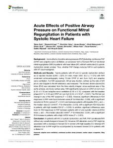 Acute Effects of Positive Airway Pressure on