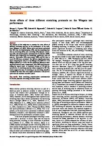 Acute effects of three different stretching protocols on the Wingate test ...