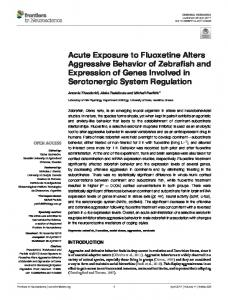 Acute Exposure to Fluoxetine Alters Aggressive