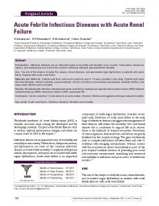 Acute Febrile Infectious Diseases with Acute Renal Failure