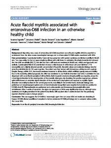 Acute flaccid myelitis associated with enterovirus-D68 infection ... - Core