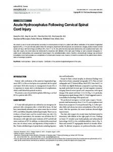 Acute Hydrocephalus Following Cervical Spinal Cord Injury