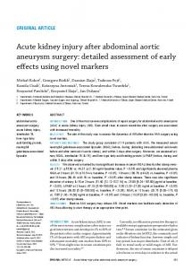 Acute kidney injury after abdominal aortic