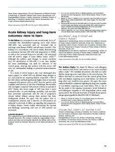 Acute kidney injury and long-term outcomes ... - Kidney International