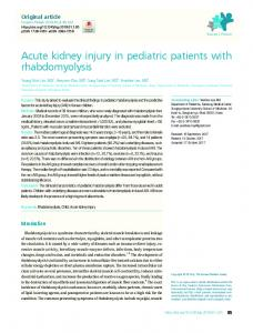 Acute kidney injury in pediatric patients with ... - KoreaMed Synapse