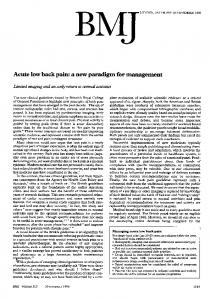 Acute low back pain: a new paradigm for management - NCBI