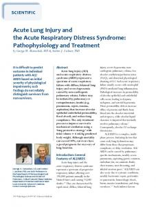 Acute Lung injury and the Acute Respiratory Distress Syndrome