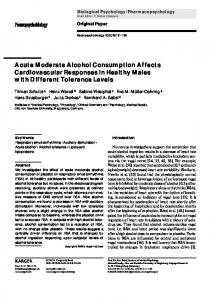 Acute Moderate Alcohol Consumption Affects