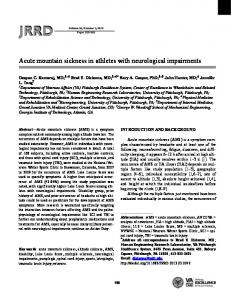 Acute mountain sickness in athletes with neurological impairments