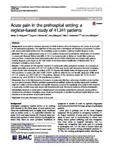 Acute pain in the prehospital setting - Scandinavian Journal of Trauma ...