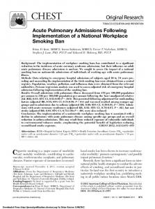 Acute Pulmonary Admissions Following ...