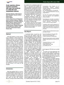Acute respiratory distress syndrome associated with tumor lysis ...