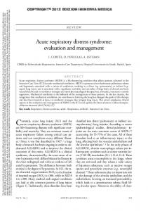 Acute respiratory distress syndrome: evaluation and management