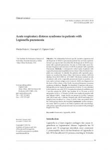 Acute respiratory distress syndrome in patients with Legionella ...