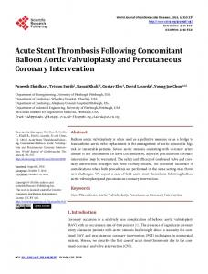 Acute Stent Thrombosis Following Concomitant