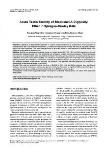 Acute Testis Toxicity of Bisphenol A Diglycidyl Ether in Sprague ...