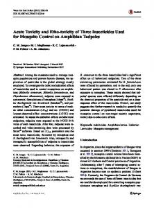 Acute Toxicity and Etho-toxicity of Three Insecticides ...