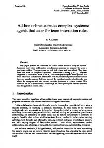 Ad-hoc online teams as complex systems: agents that ... - CiteSeerX