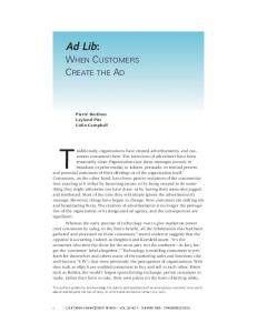 Ad Lib: When Customers Create the Ad (PDF Download Available)
