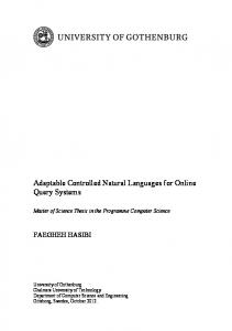 Adaptable Controlled Natural Languages for Online Query ... - GUPEA