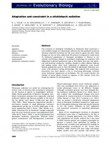 Adaptation and constraint in a stickleback ... - Wiley Online Library