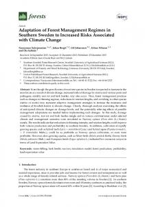 Adaptation of Forest Management Regimes in Southern Sweden to ...