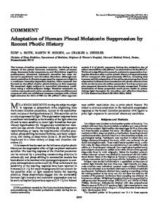 Adaptation of Human Pineal Melatonin Suppression by Recent Photic ...