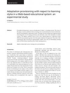 Adaptation provisioning with respect to learning styles in a Webbased ...