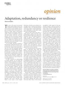 Adaptation, redundancy or resilience - Wiley Online Library