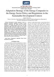 Adaptation Strategy of the Energy Companies to the Energy Sector ...