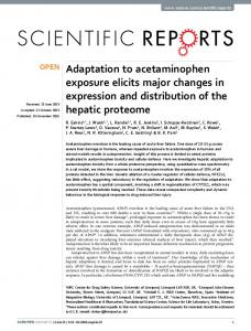 Adaptation to acetaminophen exposure elicits major changes ... - Nature