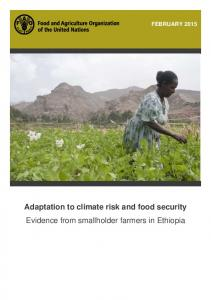 Adaptation to climate risk and food security - Food and Agriculture ...