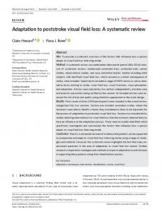 Adaptation to poststroke visual field loss: A ... - Wiley Online Library