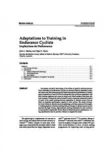 Adaptations To Training In Endurance Cyclists