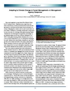 Adapting to Climate Change in Forest Management - Forests, Lands ...
