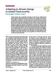 Adapting to climate change to sustain food security