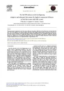 Adaptive and Adequate Lubrication for Highest ... - CyberLeninka