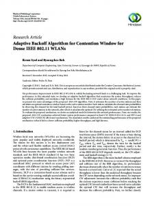 Adaptive Backoff Algorithm for Contention Window for Dense IEEE