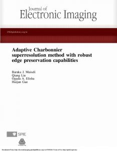 Adaptive Charbonnier superresolution method with