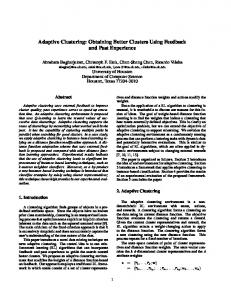 Adaptive Clustering: Obtaining Better Clusters Using ... - CiteSeerX
