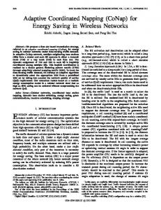 Adaptive Coordinated Napping (CoNap) for Energy Saving in Wireless ...