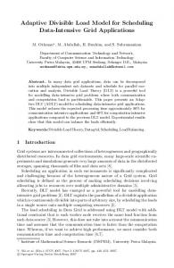 Adaptive Divisible Load Model for Scheduling Data-Intensive Grid ...