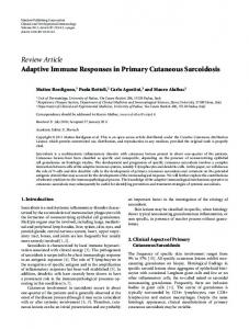 Adaptive Immune Responses in Primary Cutaneous Sarcoidosis