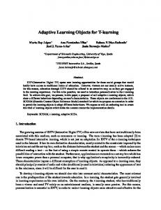 Adaptive Learning Objects for T-learning - CiteSeerX