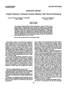 Adaptive Memory: Enhanced Location Memory After ... - CiteSeerX