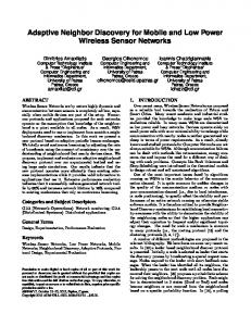 Adaptive Neighbor Discovery for Mobile and Low ... - Semantic Scholar