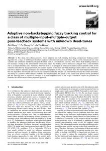 Adaptive non-backstepping fuzzy tracking control for a ... - IEEE Xplore