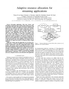 Adaptive resource allocation for streaming ... - Semantic Scholar