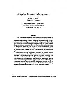 Adaptive Resource Management - CiteSeerX