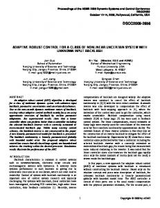 Adaptive Robust Control for a Class of Nonlinear ... - Semantic Scholar